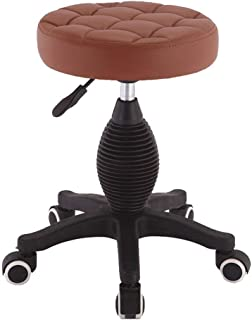ZGQQQ Taburete de Bar Taburete Alto, sillas de Oficina de la Cocina de la Cocina del Desayuno de la Barra Rotatoria movible tapizada de elevación Silla Alta (Color : Marrón)