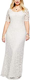 Unparalleled beauty Women's Plus Size Evening Gowns Floral Lace Short Sleeve Party Maxi Dress
