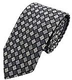 Silk Ties corbata de seda diamantes 8 cm, Krawatte Seide Rauten 8 cm:Gris