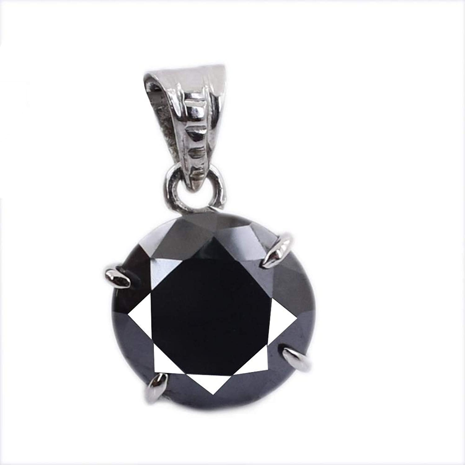 Skyjewels 5.04 Cts Round Cut Black Diamond Solitaire Beautiful Silver Pendant Gift for Wife, Girlfriend, Partner