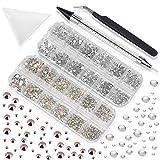 LOOHAOC Diamantes de Uñas 3003 pcs Uñas Cristal AB y Cristal Transparente Gemas de Vidrio Redondas de Decoraciones para Uñas para Manualidades en Uñas y Cara (6 Tamaños)