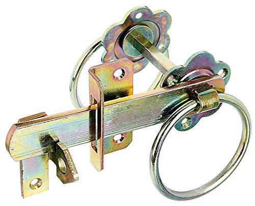 GAH-Alberts 210250 Gartentorverschluss | für hohe Tore oder Flechtzauntüren | galvanisch gelb verzinkt