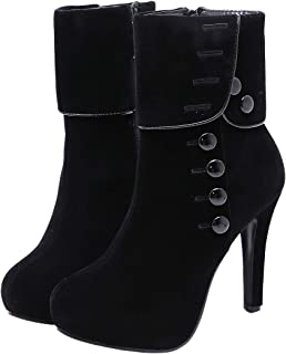 Women's Mid-Calf Boots Round Toe Platform Winter Boots Stilleo Heels Warm Plush Bootie with Zip