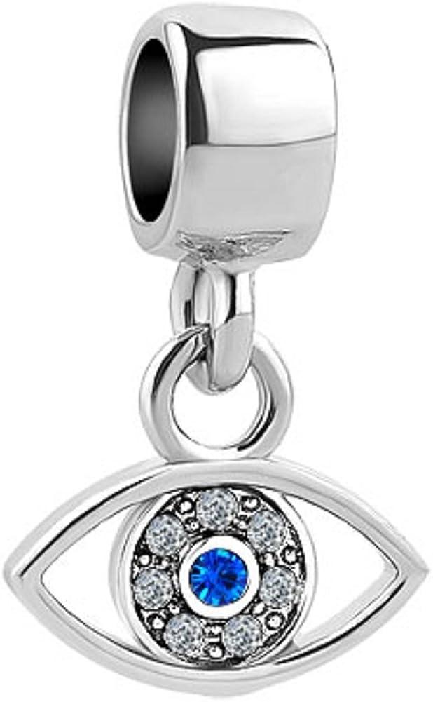 JewelryHouse Hasma Evil Eye Blue Simulated Dangle Charms