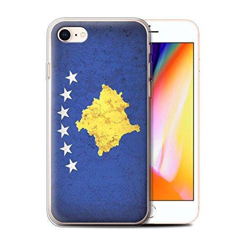 Telefoonhoesje voor Apple iPhone SE 2020 Europese vlag Kosovo/Kosovan Ontwerp Transparant Heldere Ultra Zachte Flexi Siliconen Gel/TPU Bumper Cover