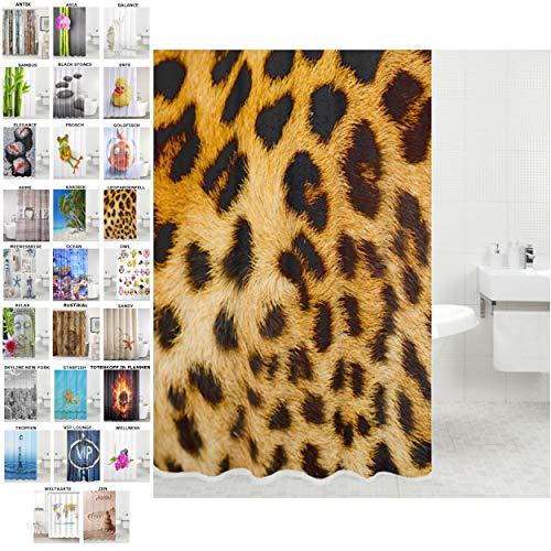Sanilo Duschvorhang, viele schöne Duschvorhänge zur Auswahl, hochwertige Qualität, inkl. 12 Ringe, Anti-Schimmel-Effekt (Leopardenfell, 180 x 200 cm)