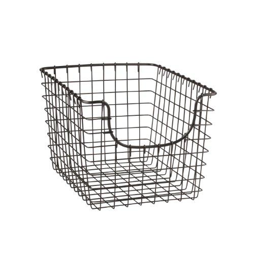 Spectrum Diversified Scoop Wire Basket, Vintage-Inspired Steel Storage Solution for Kitchen, Pantry, Closet, Bathroom, Craft Room & Garage, Small, Industrial Gray