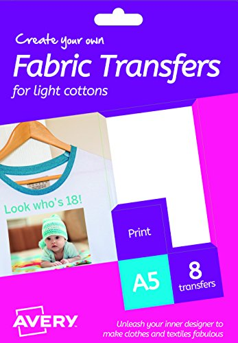 AVERY España HTT01 - Papel transfer para tejidos claros, 8 hojas, color blanco