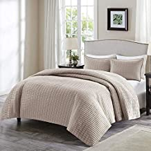 Comfort Spaces Kienna 3 Piece Quilt Coverlet Bedspread Ultra Soft Hypoallergenic Microfiber Stitched Bedding Set, King, Taupe