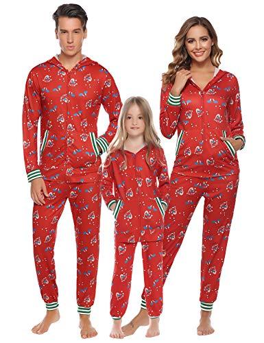 Aibrou Mutter Winter Bedruckte Schlafanzug lang Weihnachten Zweiteiliger Pyjama Set mit Reißverschluss und Kapuze, Langarm Shirt und Pyjamahose Rot L