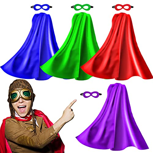 Superhero Capes for Adults and Masks, 5 Pack Super Hero Capes Costume for Women Men...