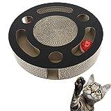 Pawaboo Katzenkratzbrett, Multifunktions-Katzenkratzkissen in runder Form aus Wellpappe, Pappkatzenspielzeug mit eingebauten runden Glockenkugeln und Bio-Katzenminze für Katzen-Kätzchen, schwarz