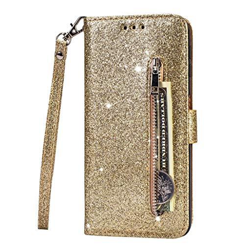 Fanxwu Kompatibel mit Huawei P30 Lite Hülle Glitzer Reißverschluss Brieftasche Cover mit Trageschlaufe Folio Flip Leder Multifunktionale Handyhülle - Golden