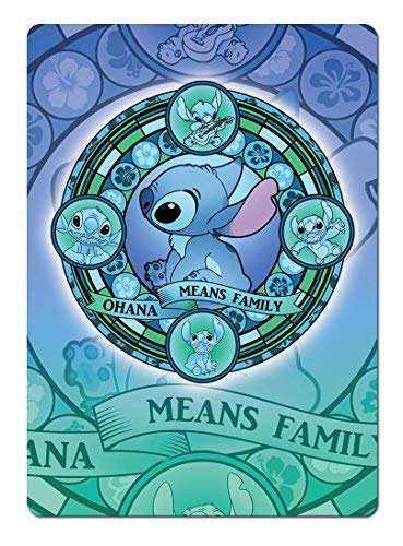First Rober Ohana Stained Glass Blue. Metal Wall Sign Plaque Wall Art Inspirational. Lilo Stitch - 8x12 inch