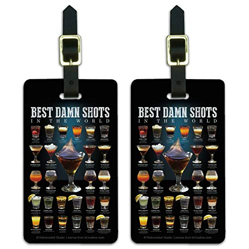 Best Shots in the World Alcohol Glasses Luggage ID Tags Cards Set of 2