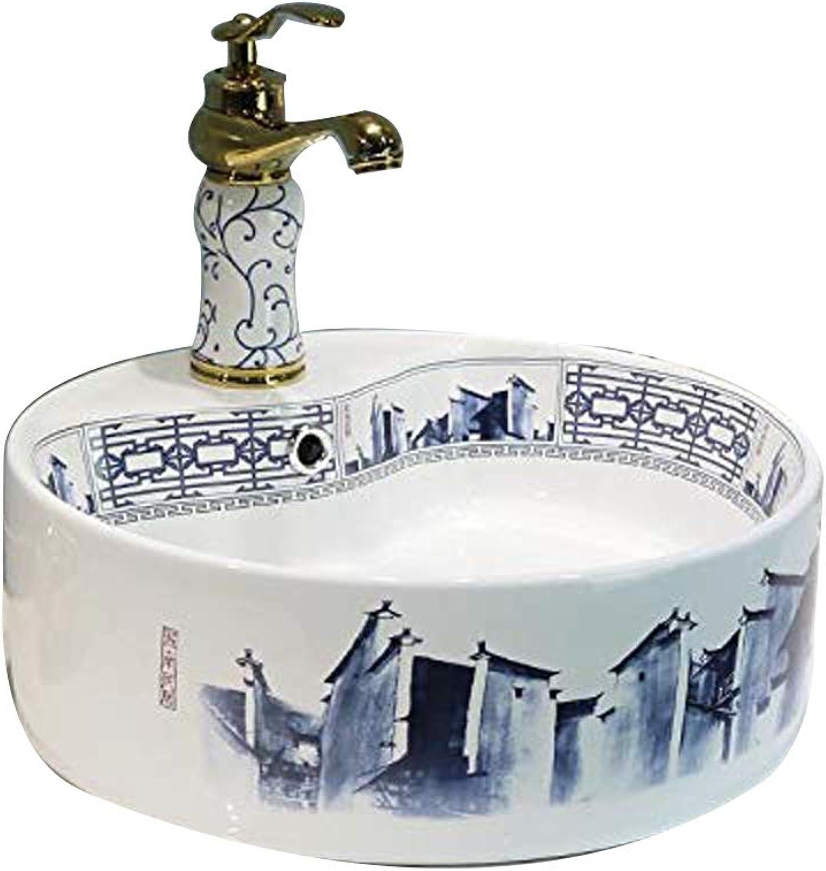 Porzellanspüle, kreatives Design, 36 cm, Blau Wei