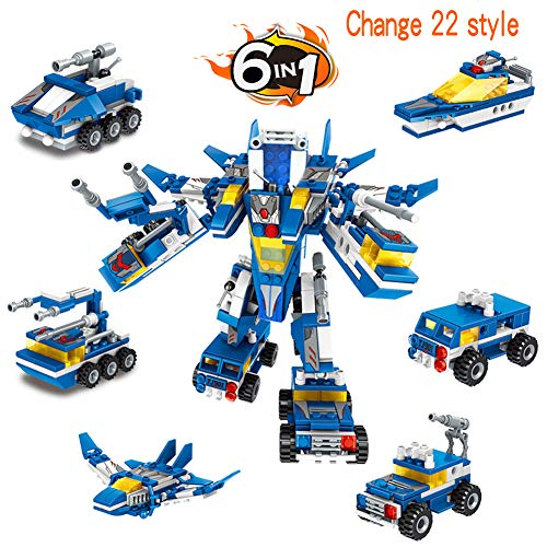 AIVIAI Robot STEM Toy Building Bricks Toys Building Kit 6 in 1 553 Pieces