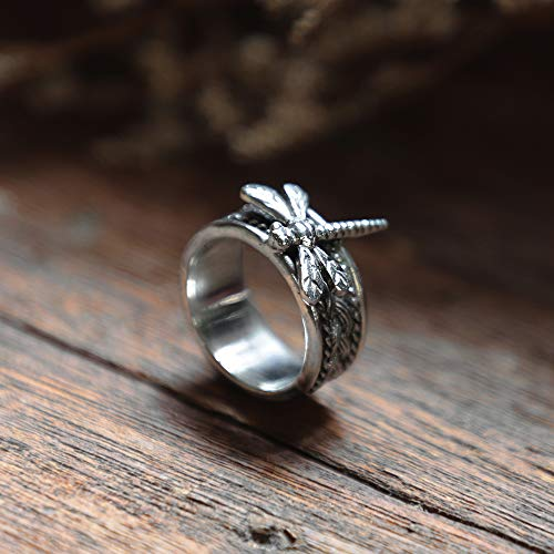Cigar Band dragonfly ring braided knot Mother's day gift Viking silver 925 celtic eternity Boho Women