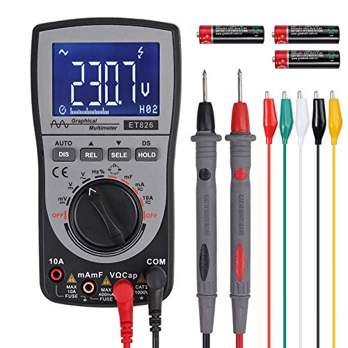 Proster Oscilloscope Multimeter 4000-Count Intelligent Oscilloscope Automatic Waveform Capture Function Multimeter Analog Bar Graph 200k High-speed A/D Sampling 5 KHz-500 KHz Frequency