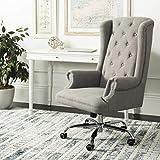 Safavieh Home Ian Grey Linen and Chrome Leg Swivel Office Chair