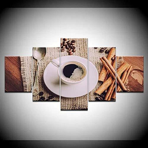 Leinwandbilder 5 Teilig Bilder Leinwanddrucke Dämpfende Kaffeetasse Kaffeebohne 5 Modern Wandbilder Leinwand Wohnzimmer Kunstdruck Bilder XXL