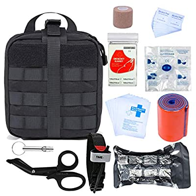 GRULLIN Survival First Aid Kit, 39 Pieces Tactical Molle EMT IFAK Pouch Emergency First Aid Survival Kits Trauma Bag Outdoor Gear for Camping Hiking Hunting Travel Car Adventures (Black) by GRULLIN