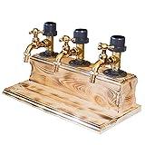 Fiogavroetic Faucet Shape Revolving Liquor Dispenser Wood, Daddy Favorite Whiskey Barrel Alcohol Dispenser, Wood Wine Dispenser for Home Bar Dinner Party Restaurant Perfect GIft (Triple Dispenser)