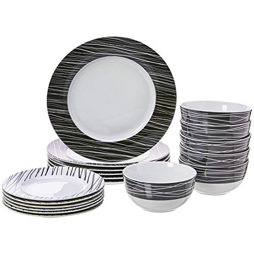 Amazon Basics 18-Piece Dinnerware Set - Sketch, Service for 6