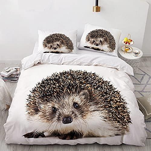 Cute Hedgehog Funda nórdica Patrón de impresión de Vida Silvestre 3D Edredón Funda de Cama Individual Doble King Size Funda de Almohada Blanca Ropa de Cama de Microfibra Transpirable y Liviana S