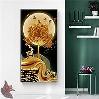 キャンバスに印刷抽象的な風景キャンバス絵画ゴールデンツリームーンポスターとプリント壁アート写真リビングルームポーチオフィスの装飾-70x140cmフレームなし