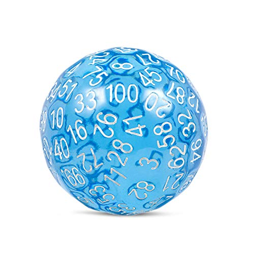DNDND D100 Dice Single 100 Sided Dice with Organza Bag (Transparent Blue with White Number)