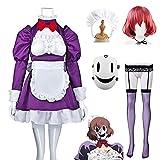 Anime High Rise Invasion Disfraz de cosplay de mucama con máscara y peluca Traje de uniforme de carnaval de Halloween Dibujos animados Vestido escolar de manga larga para mujeres - Morado