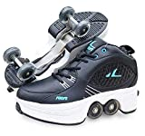 Double-Row Deform Wheel Automatic Walking Shoes Invisible Deformation Roller Skate 2 in 1 Removable Pulley Skates Skating Rollerskates Outdoor Parkour Shoes with Wheels for Girls Boys ,Black,US 4.5