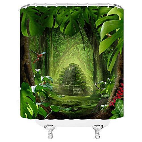 AdaCrazy Zauberwald Duschvorhang Fantasie Tropischer Regenwald Retro Castle Leaf 71x71inch Hochwertiges Polyester Wasserdichtes Gewebe Duschvorhang Einschließlich 12 Kunststoffhaken