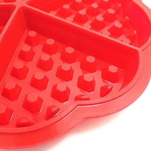 nabati Bakeware Haute qualité en Silicone gaufré Moules Mini Cœur Moule de Gaufres Moule à Muffin, Rouge