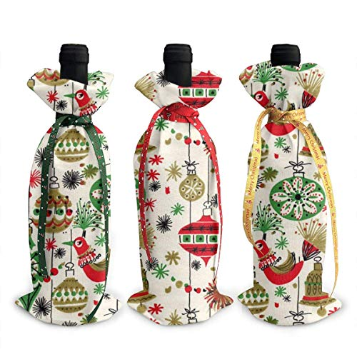 Kitsch - Bolsas para botellas de vino (3 unidades), diseño navideño con cordones para cena, cata de vino, decoración de mesa