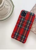 Mixneer Warm Flannel Plaid Cloth Phone Case Simple Plush Fabric Phone Case for iPhone X Xs Xsmax Xr 11 Pro Max 6s 7 8 Plus Cover (iPhone Xs max,red)