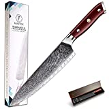 FANTECK Chef Knife 8 Inch Professional Damascus Chef Knife High Carbon 67 Layers VG-10 Damascus Knife Stainless Steel Ultra Sharp Blade Kitchen Meat Cutting Knife [Gift Box]-Ergonomic Rose Wood Handle