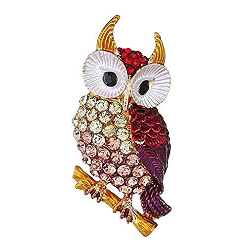 XXSHN Womens Brooch Pin Owl Cross Alloy Inlay Crystal Vintage Style Dress Shirt Wedding Gift Box