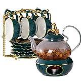 Xbai 600 ml Tetera de Cristal de Oro Verde Base de la Tapa de cerámica Soporte de Vela Caliente Taza de té y Taza de té y platillo Jugo de Fruta Hervidor de Flores de Agua