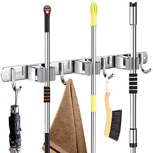 "Broom Mop Holder Wall Mount 16"" Installation Broom Mop Hanger Organizer Stainless Steel 3 Racks 4 Hooks 2020 Version for Bathroom Kitchen Office Closet Garden"