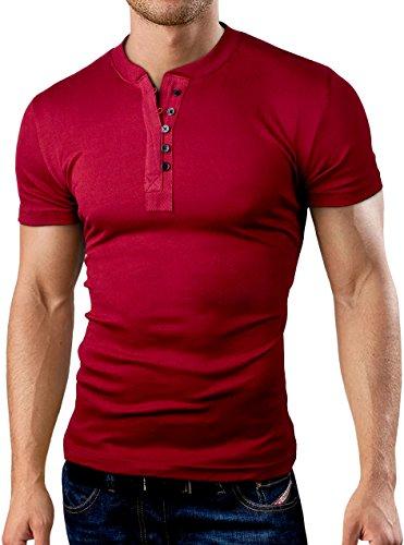 Grin&Bear Coupe Slim Contrast col à Bouton Shirt, Manches Courtes, Bordeaux, M, BH127