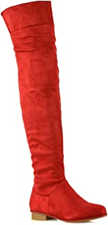 76d6377cd25 Red Women's Over The Knee Boots | Amazon.com