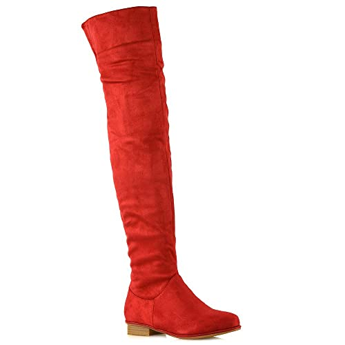 d958bdf9bcb ESSEX GLAM Womens Over The Knee HIGH Flat Ladies Long Faux Suede Thigh HIGH  Boots Size