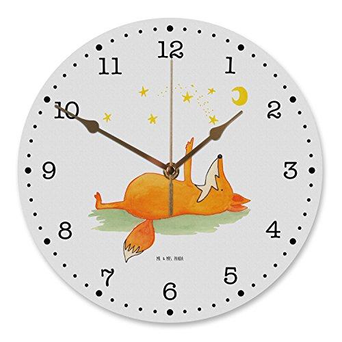 Mr. & Mrs. Panda Flüsteruhrwerk, Wanddeko, 30 cm Wanduhr Fuchs Sterne - Farbe Weiß
