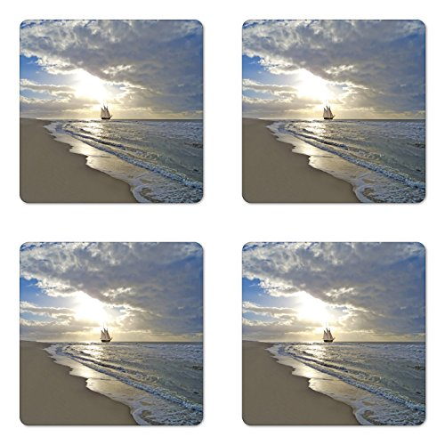 Ambesonne Nautical Coaster Set of 4, Sailing Ship Close to Sandy Beach in Moody Sunset Paradise Tropical Theme, Square Hardboard Gloss Coasters, Standard Size, White Beige