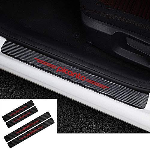 Shj_CN 4 Pezzi Fibra Carbonio Auto Battitacco, per Kia Picanto AntiGraffio Adesivi Decorazione Accessori Protector