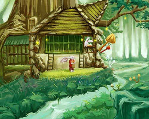 Kit de pintura al óleo por números, pintura pintada a mano por números, lienzo sin arrugas, comprensión y diversión infantil.40,6 x 50,8 cm (sin marco) Árbol casa con conejo