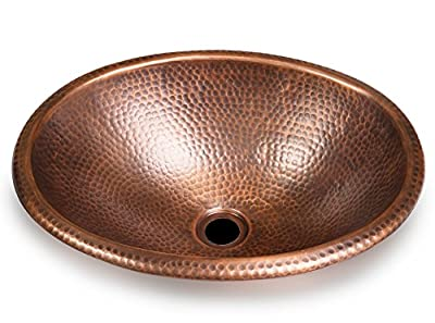 Monarch Abode Hand Hammered Oval Sink (17 Inches), Copper