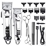 Ufree Hair Clippers for Men Barber Clippers Set Clippers for Hair Cutting Hair Clippers for Men Professional Cordless Clippers Professional Barbers & T Blade Trimmer Kit LED Display (Silver)